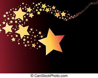 résumé, comète, tir, lumière, étoile