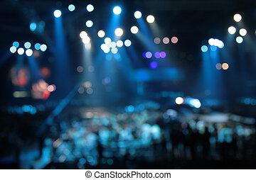 résumé, concert, projecteurs, defocused