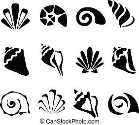 résumé, coquille, ensemble, symbole