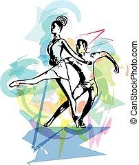 résumé, couple, ballet, illustration, danse