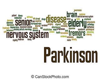 résumé, désordre, nerveux, mot, parkinson`s, ou, nuage, maladie, système, healthcare