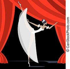 résumé, danseur, ballet, blanc