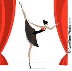 résumé, danseur, noir, ballet
