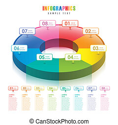 résumé, diagramme, tarte, vecteur, infographics, 3d