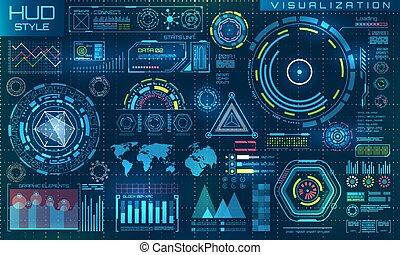 résumé, elements., interface, ui, style, toucher, infographic, futuriste, hud, virtuel, graphique