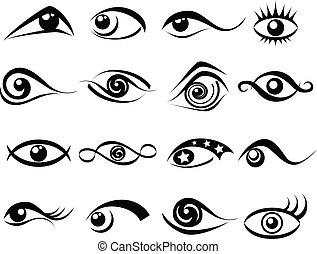 résumé, ensemble, oeil, symbole