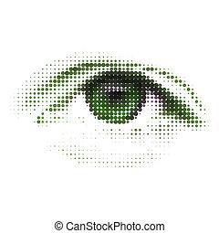résumé, eps, vert, humain, numérique, 8, eye.