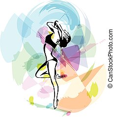 résumé, femme, yoga, croquis, illustration