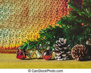 résumé, fond, arbre, décoration, noël