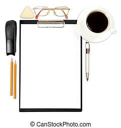 résumé, fond, bureau, business, fourniture