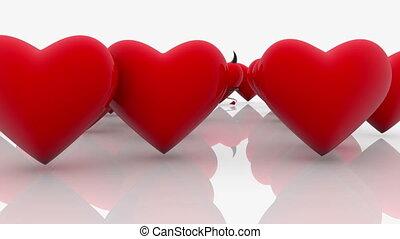 résumé, fond, cœurs, blanc rouge