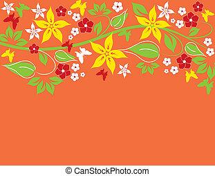résumé, fond, floral