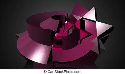 résumé, géométrique, 3d, éléments, transformation, mouvement