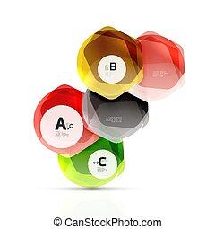 résumé, géométrique, fond, hexagones