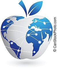 résumé, -, global, pomme, technologie, village