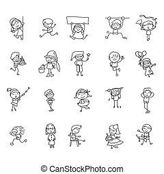résumé, heureux, style, crosse, main, gosses, dessin, griffonnage, gens, ensemble, allumette, dessin animé, caractère