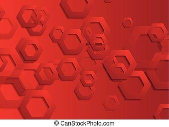 résumé, hexagones, papier, technologie, fond, rouges