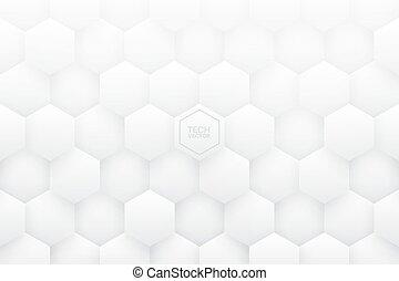résumé, hexagones, vecteur, fond, blanc, 3d