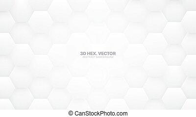 résumé, hexagones, vecteur, fond, blanc, technologic, 3d