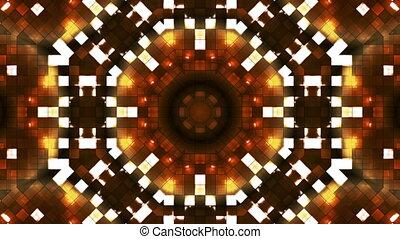 résumé, high-tech, doré, émission, boucle, carrés, firey, lumière, kaléidoscope, hd