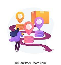 résumé, illustration., chaîne, concept, fourniture, vecteur, analytics