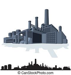 résumé, illustration, grand, vecteur, factory., 3d