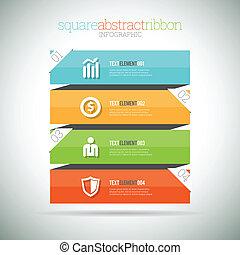 résumé, infographic, carrée, ruban