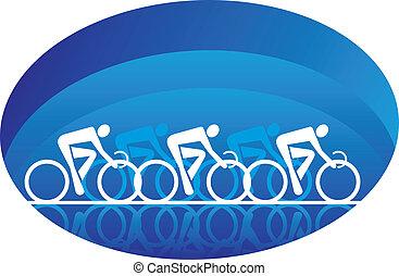 résumé, isolé, trois, cyclistes, blanc, courses