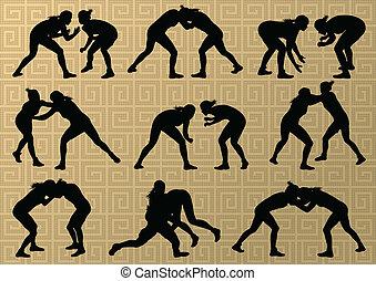 résumé, lutte, jeune, illustration, grec, romain, vecteur, fond, actif, silhouettes, sport, femmes