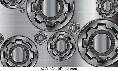 résumé, mécanisme, métallique, animation, vidéo, engrenages, technologie