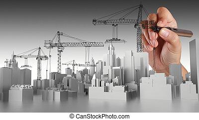 résumé, main, dessiné, bâtiment
