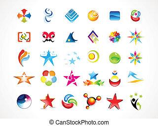 résumé, multiple, icones affaires
