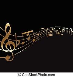 résumé, musique note, fond
