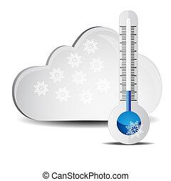 résumé, nuages, thermomètre