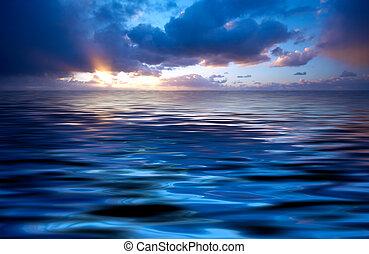 résumé, océan coucher soleil