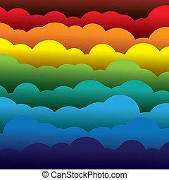 résumé, orange, couleurs, papier, (backdrop), couches, contient, -, jaune, graphic., 3d, bleu, coloré, formé, illustration, fond, utilisation, rouges, nuages, aimer, ceci, vecteur, vert
