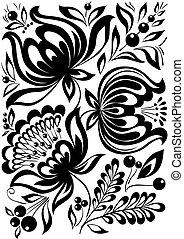 résumé, ornament., élément, flowers., noir, retro, élégant, conception, blanc