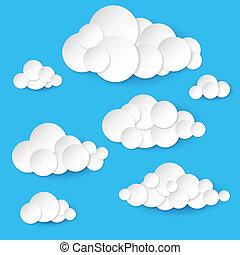 résumé, papier, nuages