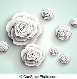 résumé, -, papier, vecteur, fond, fleurs