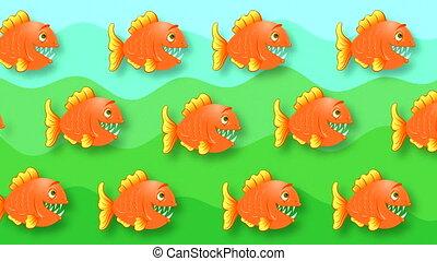 résumé, peint, rouges, poissons, animé, fond