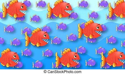 résumé, peint, rouges, pourpre, fish, animé, fond