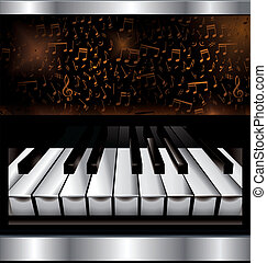 résumé, piano, fond