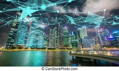 résumé, projection, globalisation, numérique, imaginatif, réseau, intelligent, ville, connexion, visuel, graphique