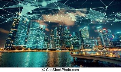 résumé, réseau, intelligent, numérique, ville, visuel, graphique, imaginatif, globalisation, connexion, projection