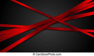 résumé, raies, animation, noir, lustré, fond, vidéo, rouges
