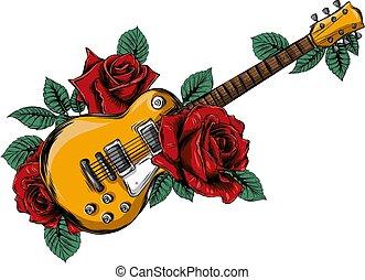 résumé, rose., illustration, guitare, vecteur, rouges