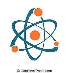 résumé, signe, unique, vecteur, atome, icône