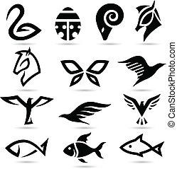 résumé, silhouettes, icônes animales