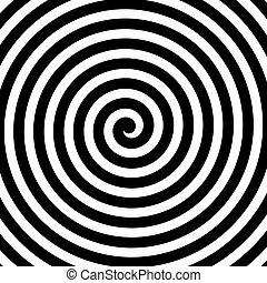 résumé, spirale, theme., hypnose, vecteur, noir, white., fond, concevoir élément