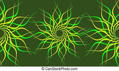 résumé, spirale, vagues, vert, coloré, arrière-plan., tourner, modelé